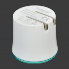 Flipping US Plugs Dual USB Output Power Adapter w/ LED Ring Indicator - White + Green