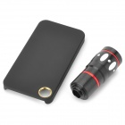 4-in-1 10X Telephoto + Macro + Wide Angle + Fish Eye Lenses Set for IPHONE 4 / 4S - Black