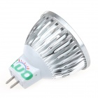 LUO V19 MR16 3W 300LM 6000K 3-LED White Light Spotlight - Silver (12V)