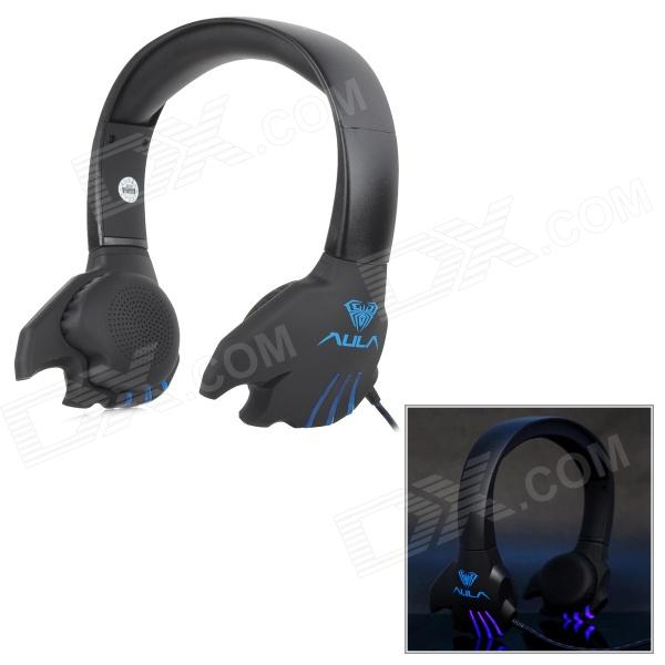 AULA Stylish USB Powered Wired Headset w/ Microphone for PC - Black