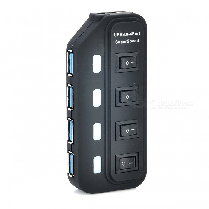 Portable Superspeed USB 3.0 4-Port Hub w/ Independent SwitchUSB Hubs &amp; Switches<br>Form  ColorBlackBrandN/AModelN/AQuantity1 DX.PCM.Model.AttributeModel.UnitMaterialABSShade Of ColorBlackIndicator LightYesPort Number4Spacing0.6cmWith Switch ControlYesInterfaceUSB 3.0,USB 2.0,USB 1.1Transmission Rate5 DX.PCM.Model.AttributeModel.UnitPowered ByUSBSupports SystemWin xp,Win 2000,Win vista,Win7 32,Win7 64,Win8 32,Win8 64,MAC OS X,LinuxPacking List1 x Hub1 x USB connection cable (60cm)<br>