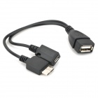 USB 2.0 Female to Micro USB 3.0 + 9-Pin Male OTG Cable for Samsung Note 3 - Black (19cm)