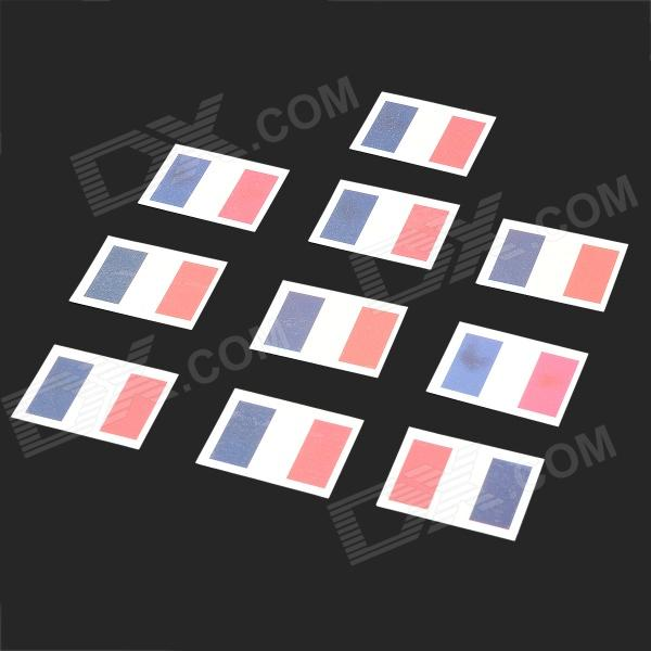 Flag of France Pattern Tattoo Sticker - Dark Blue + Red + White (10 PCS)