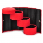 Round Shaped Portable Multi-functional 3-layer Jewelry Storage Box - Red