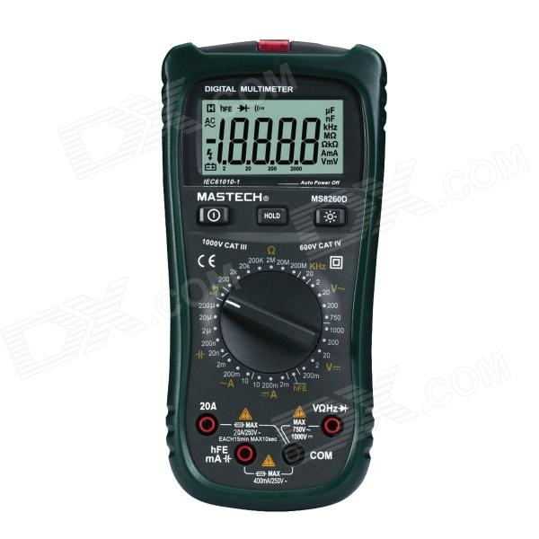 MASTECH MS8260D High Accuracy Multimeter w/ Voltage Detection - Black + Army Green