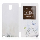 Stylish Butterfly Pattern Diamond-studded PU Leather Case Cover for Samsung Galaxy Note 3 - White