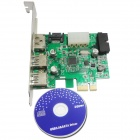 WBTUO LT303 PCI-Express 2-Port USB 3.0 + 20-PIN + Power ESATA Expansion Card for Desktop - Green
