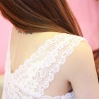 BEISITE B916 Fashion Lace V-Neck Vest for Women w/ Breast Pads - White (Free Size)