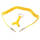 012 3.5mm Male to Male Spring Audio Cable + Male to Female Adapter - Yellow (50cm)