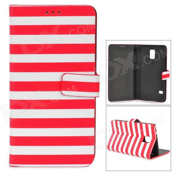 Zebra-Stripe Style Protective PU Leather + PC Case for Samsung Galaxy S5 - Red + WhiteLeather Cases<br>Form  ColorRed + WhiteBrandN/AModelN/AMaterialPU leather + PCQuantity1 DX.PCM.Model.AttributeModel.UnitShade Of ColorRedCompatible ModelsSamsung Galaxy S5Other FeaturesProtects your device from scratches, dust and shockPacking List1 x Protective case<br>