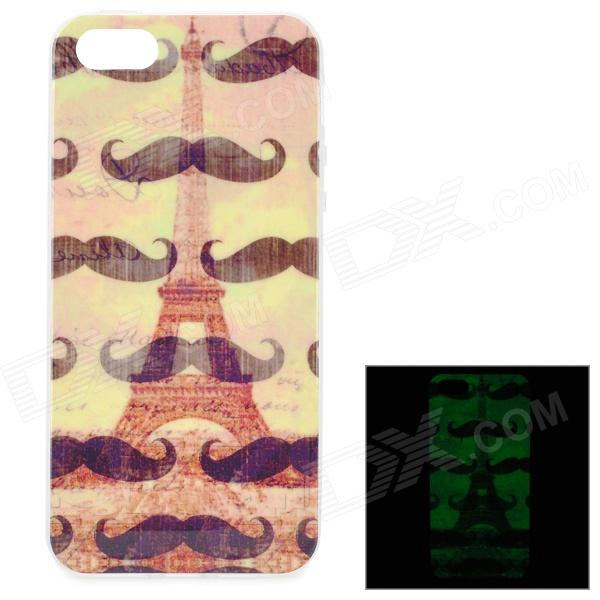 Eiffel Towel & Mustaches Pattern Glow-in-the-Dark TPU Back Case for IPHONE  5 / 5S