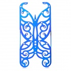 Hollowed Butterfly Style ABS Back Case for IPHONE 5 / 5S - Deep Blue + Silver