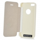 Protective Flip-open PU + Aluminum Alloy Case for IPHONE 5 / 5S - White + Silver