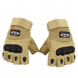 OUMILY-Outdoor-Tactical-Half-finger-Gloves-Khaki-(Size-L-Pair)