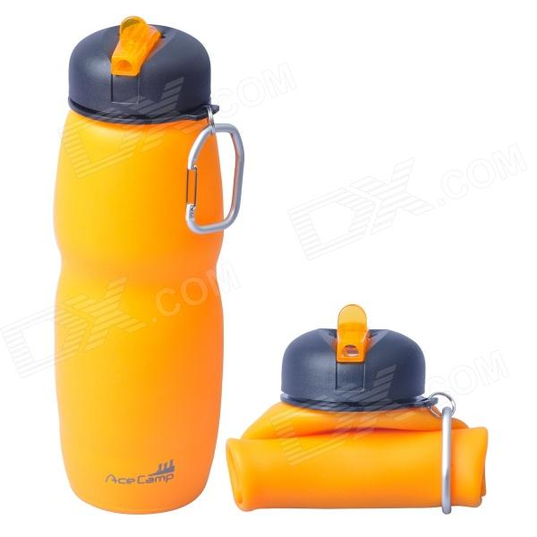 AceCamp 1544 Multipurpose Foldable Silicone Water Bottle w/ Sport Lid - Orange + Black