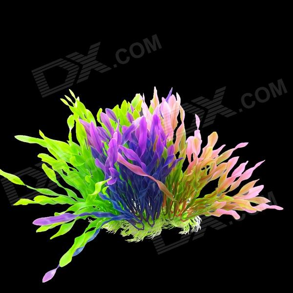 Aquarium Fish Tank Decoration Foam Artificial Plants - Green + Purple Pink (3 PCS)