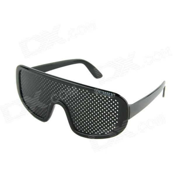 Buy OUMILY Eyesight Vision Improve Plastic Frame Pinhole Glasses Eyeglasses - Black with Litecoins with Free Shipping on Gipsybee.com