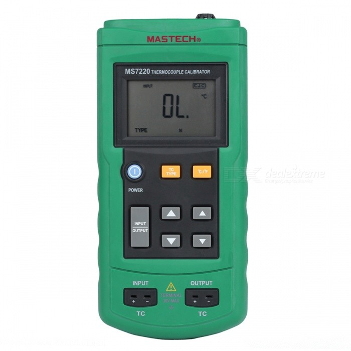 MASTECH MS7220 Thermocouple Calibrator Simulate TC / mV Output - Black + GreenOther Measuring &amp; Analysing Instruments<br>Form ColorBlack + GreenBrandMASTECHModelMS7220Quantity1 DX.PCM.Model.AttributeModel.UnitMaterialFe+Cu+ABSScreen Size5.0*3.3 DX.PCM.Model.AttributeModel.UnitPowered ByOthers,9V x 6F22Battery Number1Battery included or notYesOther FeaturesTC Type: J, K, T, E, R, S, B, N; Resolution: 0.1/0.1; Accuracy: ±(0.3+10uV); Range:10mV~ 75mV; Resolution: 0.01mV; Accuracy: ±(0.025%+1dgt)CertificationCEPacking List1 x MS7220 1 x Temperature probe 100cm)1 x TC kit (40cm)1 x English users manual1 x Hard aluminum box1 x 9V(6F22) Battery<br>