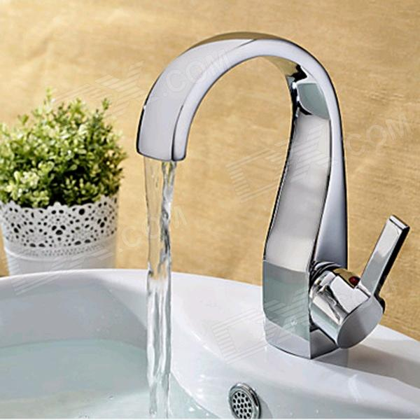 YDL-F-0541 Contemporary Elegant Brass Chrome Bathroom Basin Faucet - Silver
