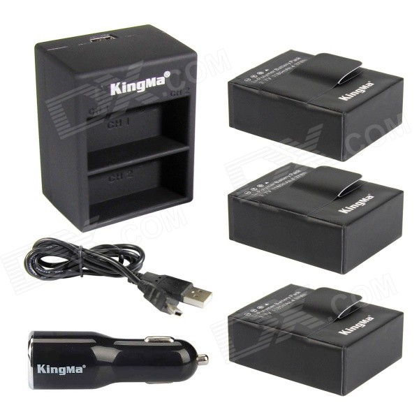 Kingma 3-Battery + Dual Charger for GoPro Hero 3 / 3+ - Black