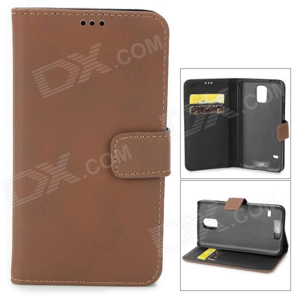 Protective PU Leather Flip-open Case w/ Card Slot / Holder for Samsung Galaxy S5 - Dark BrownLeather Cases<br>Form ColorDark BrownBrandIKKIModelN/AMaterialPUQuantity1 DX.PCM.Model.AttributeModel.UnitShade Of ColorBrownCompatible ModelsSamsung Galaxy S5Packing List1 x Case<br>