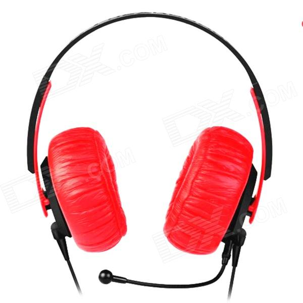OYK Wired Double-Side Headband Stereo Headphones w/ MIC for Gaming, PC - Red + Black (3.5mm Plug)