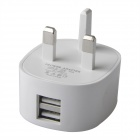JG-5058A Dual USB Power Charger Adapter til iPhone / iPad / SAM / HTC / LG-Hvit (UK Plug)