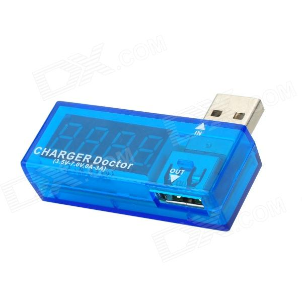 USB-lader Doctor Current Voltage Detector-Transparent Blue + Silver