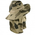 YUSHAN Outdoor UV Protection Cotton Large Brimmed Hat w/ Neck Protection / Mask-Desert - Camouflage