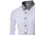 8678 Men's Fashion Solid Color Long-sleeve Shirt - White (XL)