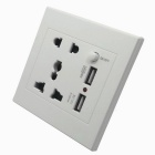 AC Power Socket w/ Switch Control / Dual-USB Socket Wall Panel - White + Black (US & AU Plug)