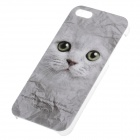 C300001 Animal Series Cute Cat Style Protective Plastic Back Case for IPHONE 5 / 5S - Grey + Black