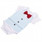 DHY039 Bow Tie Cotton Baby's Infant Romper Cloth - White + Blue + Red (Size: L)