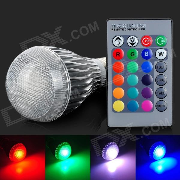 E27 10W LED Globe Bulb RGB 500lm Remote Controller (AC 85~265V)Form  ColorWhite + Silver Grey + Multi-ColoredColor BINRGBBrandN/AModelN/AMaterialAluminumQuantity1 DX.PCM.Model.AttributeModel.UnitPower10WRated VoltageAC 85-265 DX.PCM.Model.AttributeModel.UnitConnector TypeE27Emitter TypeLEDTotal Emitters1Actual Lumens35-500 DX.PCM.Model.AttributeModel.UnitColor Temperature12000K,Others,0DimmableYesWavelength635-655nmOther FeaturesWavelength: red:635-655nm, green: 515-545, blue: 455-465nm. With a remote controller(1 x CR2025 button cell, voltage 3V), remote control distance is 2-5MPacking List1 x LED1 x Remote controller<br>