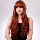 Fashionable Long Wavy Orange Hair Wig Full Bang - Orange Yellow