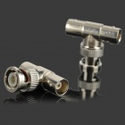 BNC Male Connector Tee / T Shaped Head 2-Female Adapter - Silver (2 PCS)