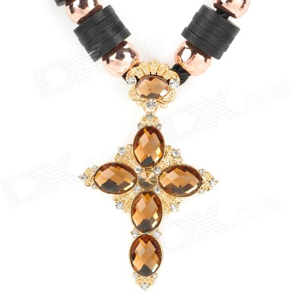 58 Cross Style Necklace for Women - Golden + Black