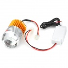 Universal Waterproof 10W 855lm 6500K 1-LED 3-Mode DIY Motorcycle Headlamp - Silver + Yellow (12~90V)