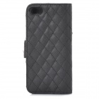Grid Pattern Protective PU + Plastic Case w/ Stand for IPHONE 5 / 5S - Black