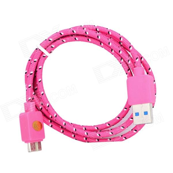 IKKI USB 3.0 Male to Micro 9-Pin Male Woven Mesh Data Charging Cable for Samsung P900 - Deep Pink