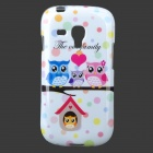 Owls Pattern Protective TPU Back Case for Samsung Galaxy S3 Mini i8190 - White + Multicolored