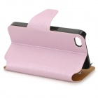 Protective Flip Open PU + Plastic Case w/ Stand / Card Slots for IPHONE 4 / 4S - Pink