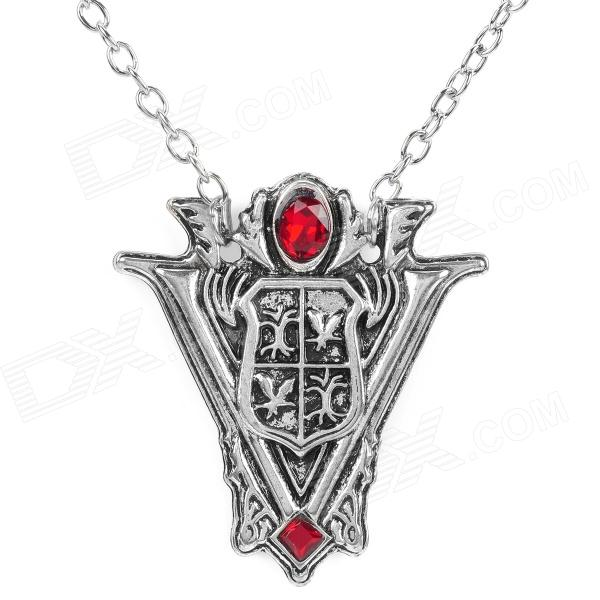 Zinc Alloy Tower Clock Necklace for Women - Silver + Red + Multicolored