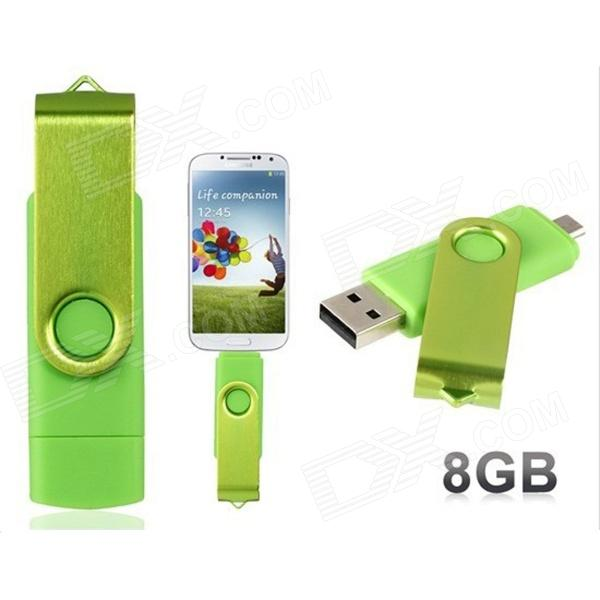 Rotatable OTG Micro USB + USB 2.0 Flash Drive for Cell Phones & Tablet PC - Green (8GB)