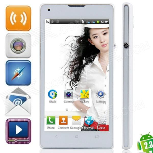 "Mpie MP-M3+ SC6820 Android 4.1.1 GSM Bar Phone w/ 4.7"", FM, Wi-Fi, Quad-Band, Dual camera - White"