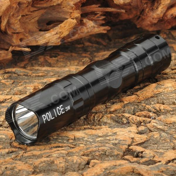 Water Resistant Mini 1A 30lm 1-LED 1-Mode Flashlight w/ Strap - Black (1 x AA)