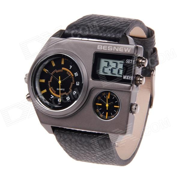 BESNEW BN-0831 Fashion Men's Three Time Zones Wrist Quartz Watch - Black + Yellow