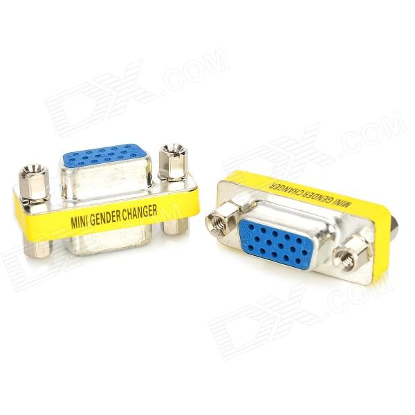 Buy 15-hole Female to Female VGA Adapter - Black + Silver (2 PCS) with Litecoins with Free Shipping on Gipsybee.com