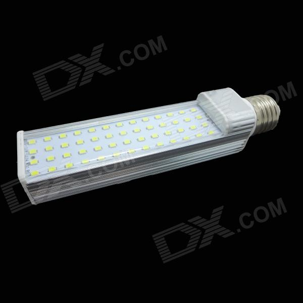 E27 10W 600lm 3500K 52-SMD 2835 LED Warm White Light Lamp - White + Silver (AC 85~265V)