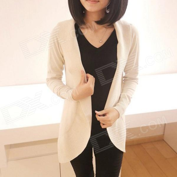 Cotton Blended Long Women's Cardigan Sweater - Beige(Free Size)